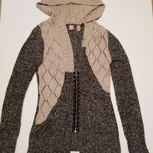 BKE zip front cardigan. Gray and tan. Size medium